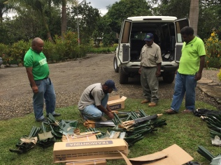 Preparing to distribute agricultural tools as part of the El Nino drought response in PNG