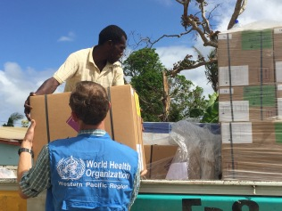 Hands On unloading medical stores as part of the Cyclone PAM response in Vanuatu